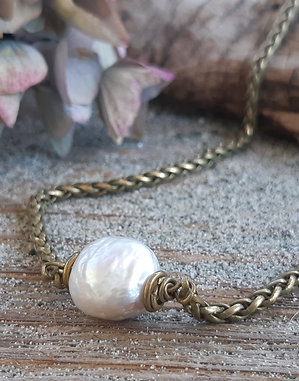 poet's cove  - white pearl choker with antiqued brass