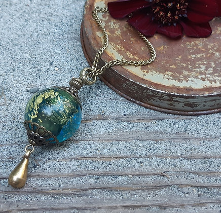 urban tribe - teal glass pendant