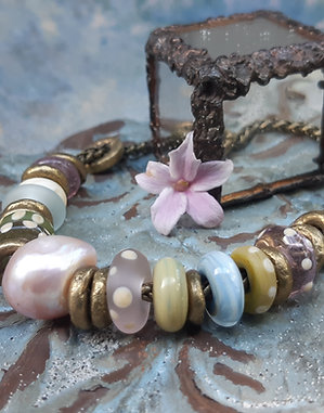 faded and beautiful- necklace on antiqued brass chain