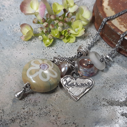 faded and beautiful - necklace on antiqued sterling chain