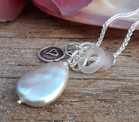 poet's cove - pearl and glass pendant