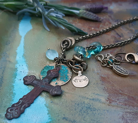earth and wine - vintage cross with accents
