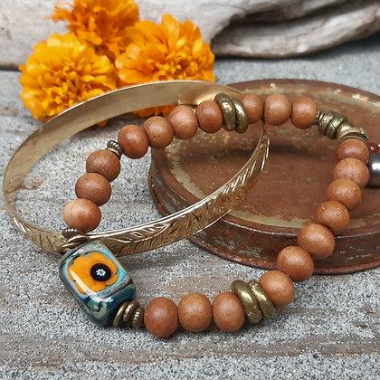 wild soul - sandalwood and glass bracelet
