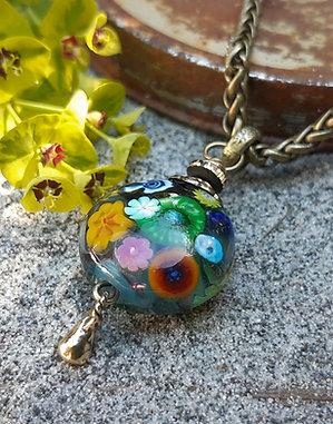 wild garden - pendant on brass chain