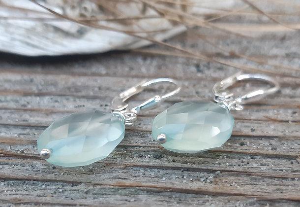 poet's cove - chalcedony gemstone earrings