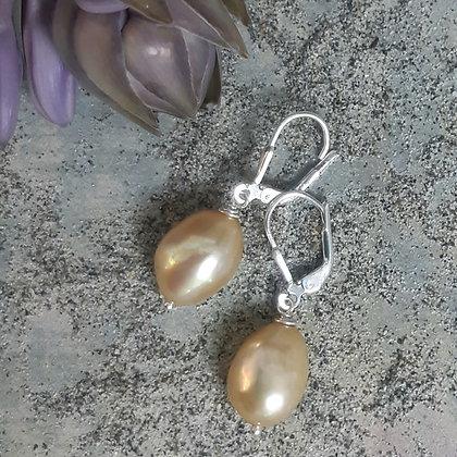 poet's cove - freshwater pearl earrings - soft yellow