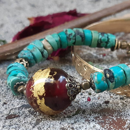 City Boho - Turquoise and Glass Bracelet