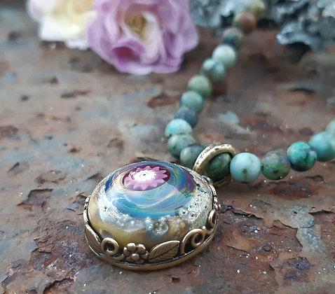 wild garden - pendant on jasper beads