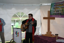 Pastor Donna leading in song