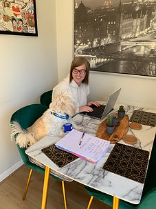 Citizens Advice staff and their dog working from home