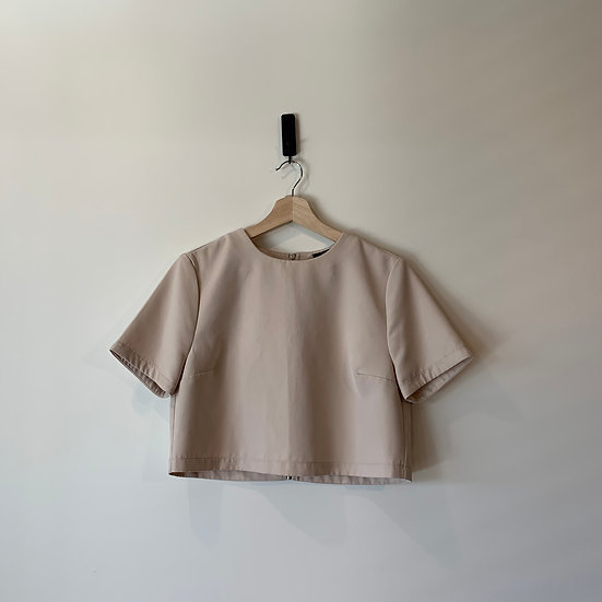 POLERA CROPPED POLIESTER SIPPER FOREVER 21