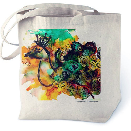 Sitting Peacock Cotton Tote Bag