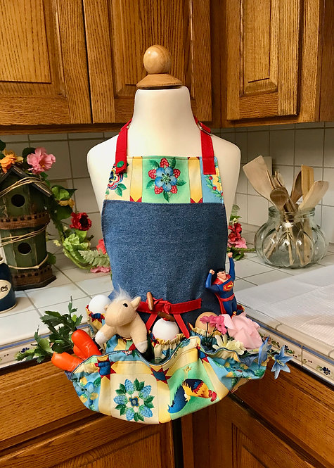 Children's Happy Harvest Egg Gathering Apron - Denim and Patchwork Roosters
