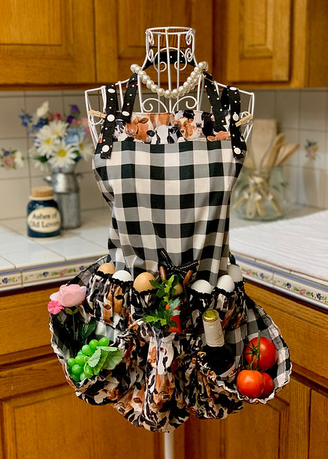 Happy Harvest & Egg Gathering Reversible Cotton Apron - Happy Cows & Black Check