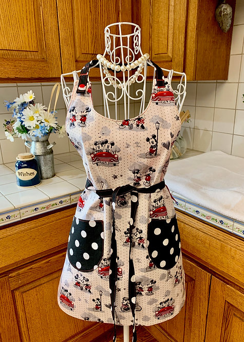 Reversible Cotton Apron  - Mickey and Minnie in Paris