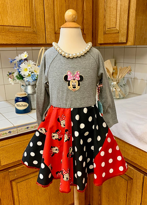 Size 2T Long Sleeve Twirly T-Shirt Dress - Patchwork Minnie Mouse