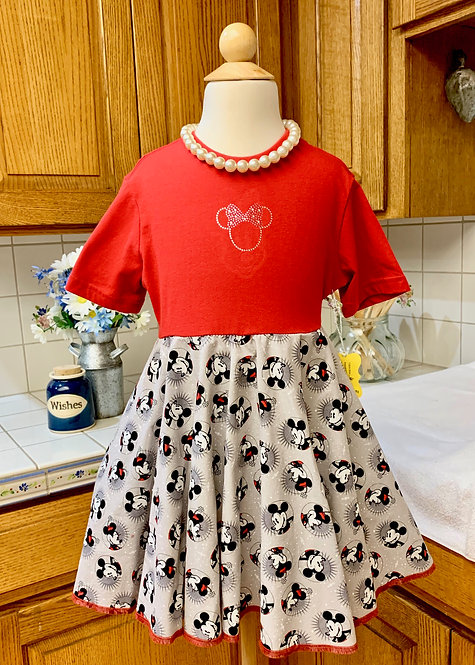 Size 6 Short Sleeve Twirly T-Shirt Dress - Red and Grey Mickey and Minnie Mouse