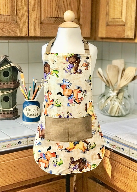 Children's Sm Waterproof Reversible Apron - Cowboys & Girls and Tooled Leather