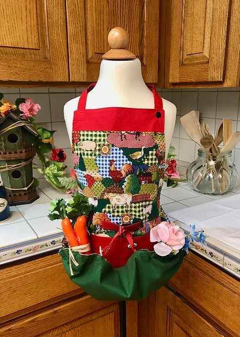 Children's Happy Harvest Egg Gathering Apron - Patchwork Gingham & Roosters
