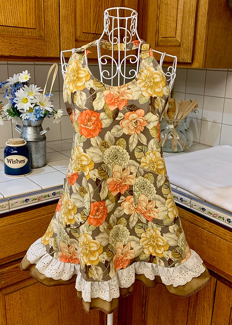 Sweetheart Apron  - Soft Orange and Yellow Bouquet