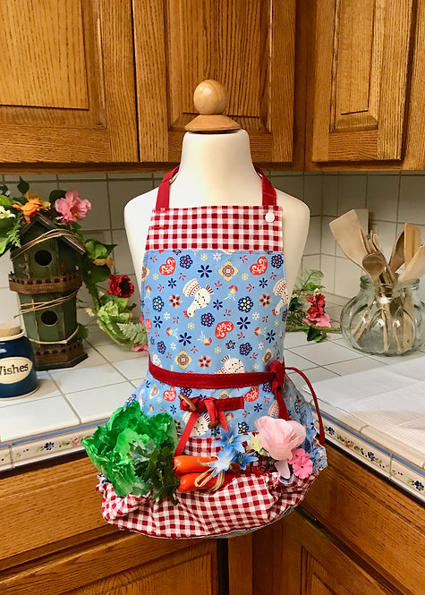 Children's Happy Harvest Egg Gathering Apron - Red Gingham and White Chickens