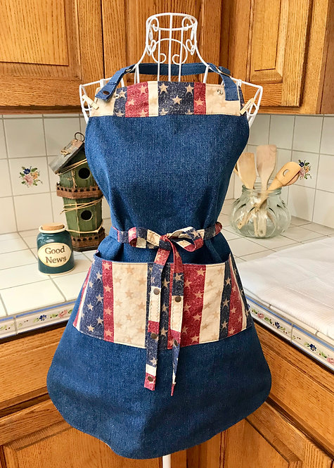 Reversible Cotton Apron Deluxe - Stars and Stripes