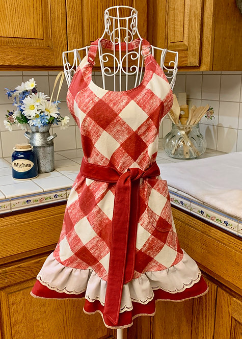 Sweetheart Apron  - Red Checks