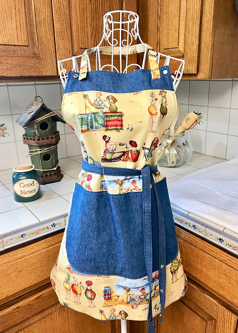 Reversible Cotton Apron Deluxe - Denim and Bountiful Beach Beauties