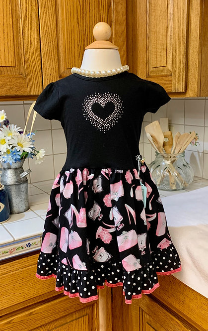 Size 4 - Short Sleeve T-Shirt Dress - Pink and Black Shoes and Purses
