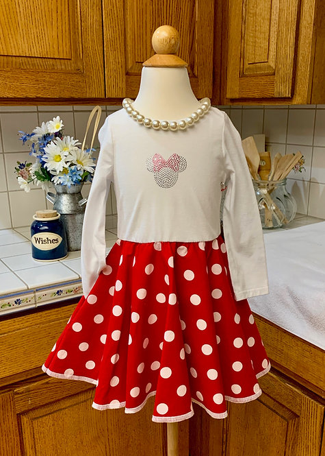 Size 2T - Long Sleeve Twirly T-Shirt Dress -  Red Polkadot Minnie Mouse