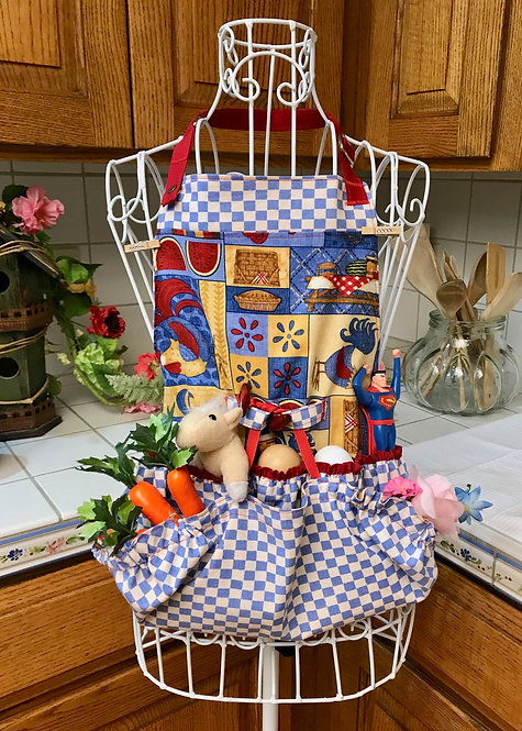 Children's Happy Harvest Egg Gathering Apron - Picnic Patchwork & Roosters