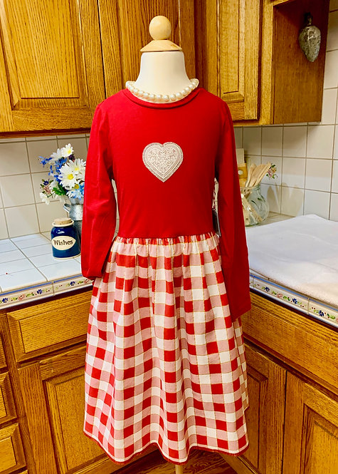 Size 10/12 - Long Sleeve T-Shirt Dress - Red Check Hearts