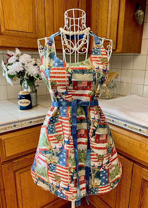 Reversible Cotton Apron  - Christmas in the USA