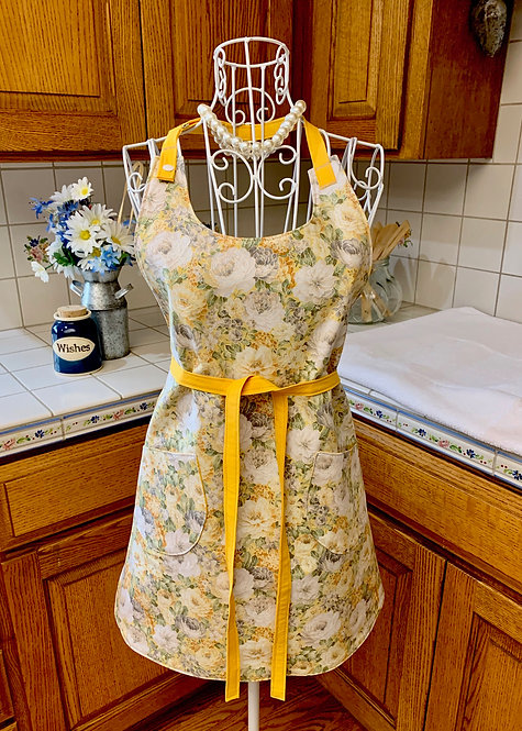 Reversible Cotton Apron  - Soft Yellow and Grey Flower Garden