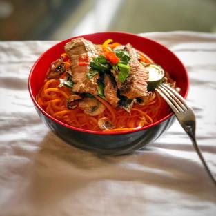 Beef with veggie noodles