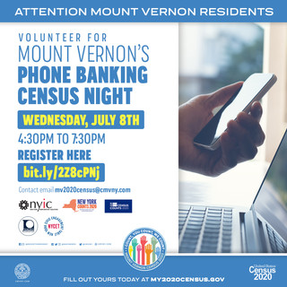 Volunteer for the Mount Vernon Census Phone Banking - Wednesday, July 8th - 4:30pm to 7:30pm