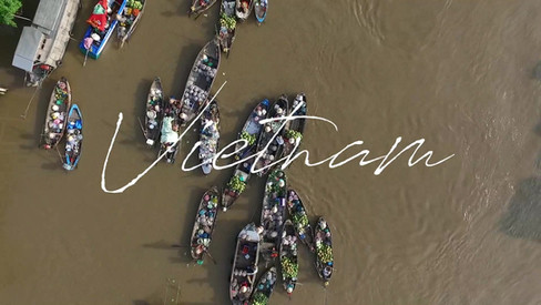 Aerial video of floating market