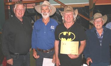 WA State Championships Yarnspinning winners presented by Andrew McCann.  Bill Gordon Equal 2nd, Peter Rudolph Winner, Equal 2nd Arthur Leggett