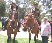 At Remembrance service as part of Seniors Council Have A Go Day at Burswood. Members of 10th Light Horse and WA Bush Poet, Bev Shorland