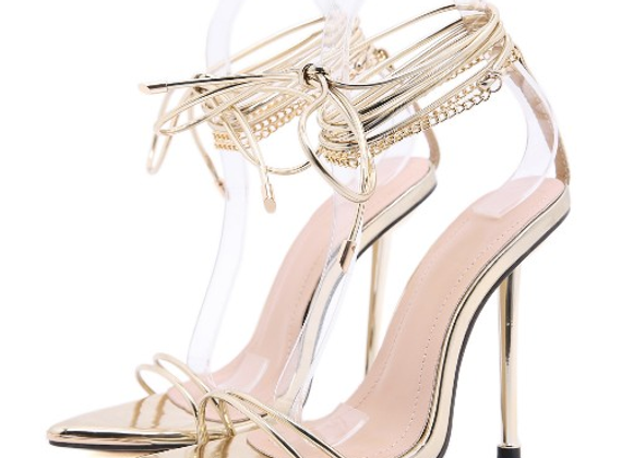 Roman Style Pointed Toe Lace-Up Ladies Sandal