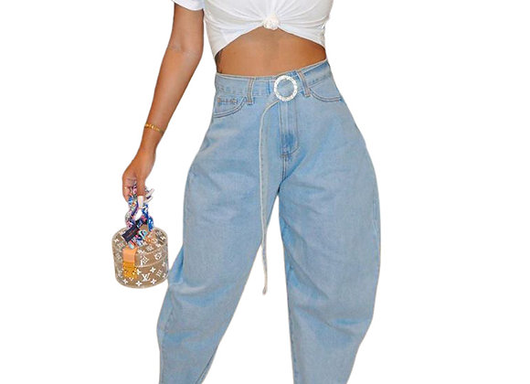 Washed Loose Jeans For Women