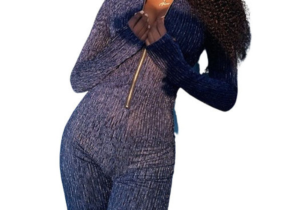 Casual Stand Collar Front Zipper Long Sleeve Jumpsuit