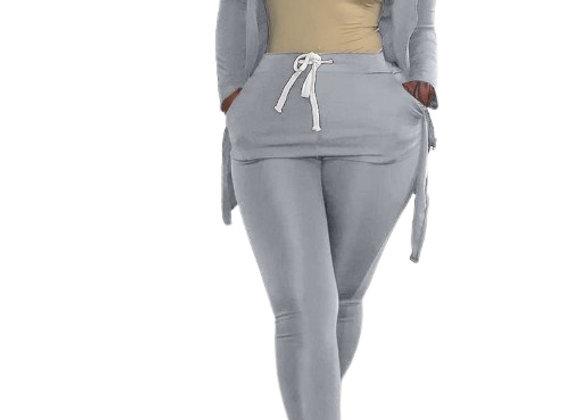 High Neck Zipper Up Skinny 2 Piece Pants Set