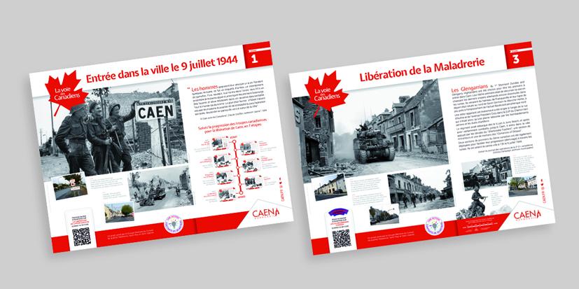 """Panneaux """"La voie des canadiens"""" - Caen"""