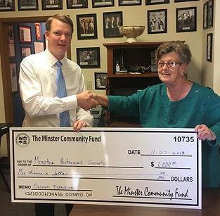 Minster Historical Society Donation