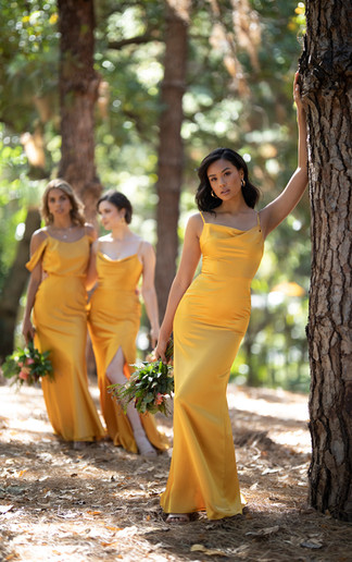 Tuscan Gold Charmeuse Bridesmaid Gowns