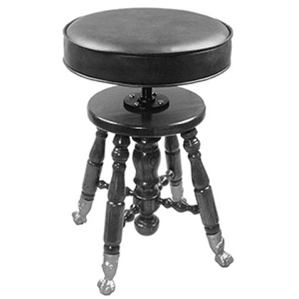 Piano Stool, Padded Top Walnut, Brass Claw Feet