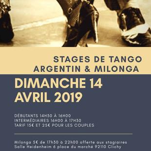 stages de tango Argentin & milonga à Clichy