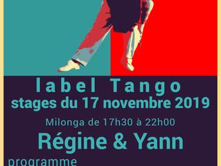 stages & milonga à Clichy du mois de novembre 2019