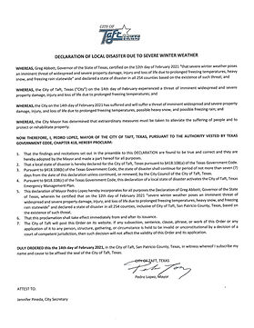 City of Taft DECLARATION OF LOCAL DISAST